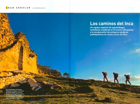 "Doble pàgina d'obertura del reportatge ""Los Caminos del Inca"" a la revista National Geographic d'abril de 2008. Fotografies de Valentí Zapater. ""The Inca Trails"" National Geographic feature (april 2008 issue). Photography by Valenti Zapater"